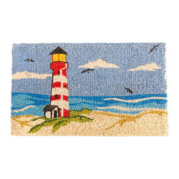 """CocoMatsNMore - CocoMatsNMore Lighthouse Design Coco Doormats - 18"""" X 30"""" - Eco-friendly Coco Mat are hand-woven and  made from 100% natural coir . These coco doormats are designed to last for a long time and are easy to maintain and clean by either shaking or hosing it down. Designed with fade-resistant dyes they are durable enough to withstand the harshness of weather and look good througout the year. Furthermore, they keep your house clean by doing a fabulous job of trapping the dirt, mud and debris right at the doorstep."""
