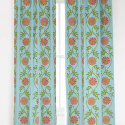 Edelweiss Crewel Aqua Window Panel - I love this aqua curtain set from Pine Cone Hill! Adding color through your window accessories is a great way to add character to a room.