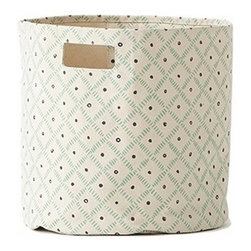 Pehr Grass/Indigo Weave Canvas Storage Bin - This whimsical storage bin in squiggly grass green and indigo blue horizontal lines is unique and durable. Made from 100% Heavy weight cotton canvas and machine washable. Just one of many prints to choose from, this striped bin will fit perfectly into your child's playroom or bedroom.