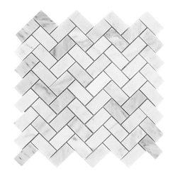 "Tiles R Us - Carrara White Marble Polished Herringbone Mosaic Tile, 1 Sq. Ft. - - Italian Carrara White Marble Polished 1"" X 2"" Herringbone Mosaic Tile."