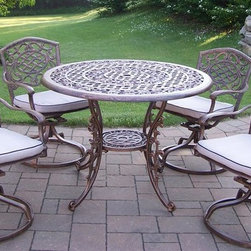 Oakland Living - Mississippi 5-Pc Patio Dining Set - Includes one table, four swivel dining chairs with cushions. Fade, chip and crack resistant. Traditional lattice pattern and scroll work. Brass hardware. Warranty: One year limited. Made from rust free cast aluminum. Hardened powder coat finish in antique bronze. Minimal assembly required. Table: 42 in. Dia. x 29 in. H. Swivel chair: 23 in. W x 17.5 in. D x 38 in. H (66 lbs.)This dining set is the prefect piece for any outdoor dinner setting. Just the right size for any backyard or patio. The Oakland Mississippi Collection combines southern style and modern designs giving you a rich addition to any outdoor setting.