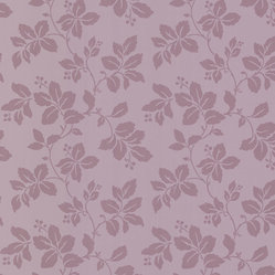 Brewster Home Fashions - Phoebe Purple Rose Leaf Trail Wallpaper. - Adorn your walls in this striking lavender floral wallpaper. Its two-toned design brings to your home a trail of beauty with a modern edge.