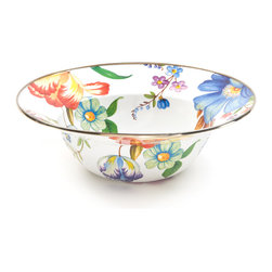 Flower Market Enamel Serving Bowl - White | MacKenzie-Childs - At last, a serving bowl that's equal to summer's freshest picks from the garden or orchard. The handy size is ideal for summer salads. Color glazed in black, blue, green, white or plum, each Flower Market Enamel Serving Bowl is decorated with hand-applied fanciful botanical transfers that recall a lush English garden in the peak of summer. Pair with our Flower Market Enamel Platter for a gift that's not likely to see the inside of a cupboard anytime soon.