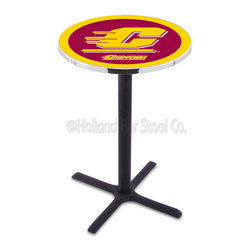 Holland Bar Stool - Holland Bar Stool L211 - Black Wrinkle Central Michigan Pub Table - L211 - Black Wrinkle Central Michigan Pub Table belongs to College Collection by Holland Bar Stool Made for the ultimate sports fan, impress your buddies with this knockout from Holland Bar Stool. This L211 Central Michigan table with cross base provides a commercial quality piece to for your Man Cave. You can't find a higher quality logo table on the market. The plating grade steel used to build the frame ensures it will withstand the abuse of the rowdiest of friends for years to come. The structure is powder-coated black wrinkle to ensure a rich, sleek, long lasting finish. If you're finishing your bar or game room, do it right with a table from Holland Bar Stool. Pub Table (1)