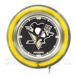 Holland Bar Stool - Holland Bar Stool Clk15PitPen Pittsburgh Penguins Neon Clock - Clk15PitPen Pittsburgh Penguins Neon Clock belongs to NHL Collection by Holland Bar Stool Our neon-accented Logo Clocks are the perfect way to show your team pride. Chrome casing and a team specific neon ring accent a custom printed clock face, lit up by an brilliant white, inner neon ring. Neon ring is easily turned on and off with a pull chain on the bottom of the clock, saving you the hassle of plugging it in and unplugging it. Accurate quartz movement is powered by a single, AA battery (not included). Whether purchasing as a gift for a recent grad, sports superfan, or for yourself, you can take satisfaction knowing you're buying a clock that is proudly made by the Holland Bar Stool Company, Holland, MI. Clock (1)
