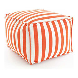 Trimaran Stripe Tangerine/White Indoor/Outdoor Pouf - Easy-to-clean fabric makes it painless to pin your decorative hopes on bright colors and strong contrast.  The Fresh American Trimaran Stripe Pouf in Tangerine and White indoor/outdoor materials uses the simple and familiar maritime pattern but reinvents it in eye-catching fruity orange, making the classic a statement again.  A relaxed shape implies a holiday air in the room where you place this pouf.