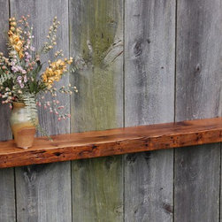 Vintage White Oak Mantel or Bookshelf - Reclaimed oak ledge shelf mantel. Made from reclaimed white oak rafters from a late 1700's barn. Rich old growth patina provides an unmatched character with subtle color variation. Perfect fit as a fireplace mantel or floating shelf / bookshelf yielding design and style to any decor. Five keyhole fasteners installed for simple, easy and secure mounting easily adjusted to fit any stud layout. Light coats of varnish on the top and bottom surfaces, hand polished. Ships to 48 states.