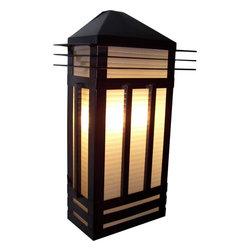 Joshua Marshal - Three Light Burnished Prairie Rib Frost Glass Outdoor Wall Light - Three Light Burnished Prairie Rib Frost Glass Outdoor Wall Light