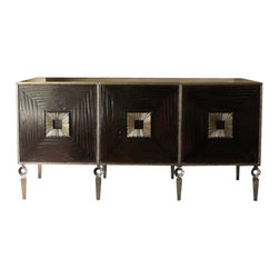 Textured Three Cube Media Storage Unit - Elegance, meet function. Chic, meet stunning. You, meet the Textured Three Cube Media Storage Unit. This contemporary piece is crafted from solid hand-carved wood with a hand-forged iron frame. You will be enamored with the attention to detail and craft that went into making this media cabinet. Have you met convenience yet? Don't worry - you will: this piece features open slat backing for easy access to cords and systems. It doesn't get better than this, and don't you deserve the very best?