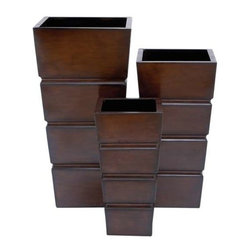 """BZBZ53206 - Planter Modern Design and Smooth Finish - Set of 3 - Planter Modern Design and Smooth Finish - Set of 3. Recreate the joyful spirit both indoors and outdoors with this pair of metal planters. It comes with the following dimensions15""""W x 15""""D x 31""""H. 13""""W x 13""""D x 25""""H. 10""""W x 10""""D x 20""""H."""