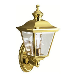 KICHLER - KICHLER 9713PB Bay Shore Traditional Outdoor Wall Sconce - This collection takes the classic lines of outdoor lanterns and dresses it up in style. Each piece in the collection features Kichler's exclusive LifeBrite Polished Solid Brass, which is guaranteed for a lifetime to look fantastic while being capable of withstanding the harshest elements no matter where you live. Clear beveled glass panels complete the outdoor lanterns' timeless profile. This 1-light wall lantern uses a 100-watt (max.) bulb. U.L. listed for wet locations.