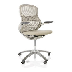 """Knoll - Generation Mid-Back Task Chair - Learn more about Mid-Back Task Chair below: Features at Glance • Specifications • Order with Confidence • Designer Back To Top Features at Glance *This product is made to order and thus customer orders cannot be canceled once products go into production -Design Year: 2009. -Promotes interaction and collaboration. -Flex Back and Flex Top created from high performance elastomer facilitates changes in posture and position throughout work day. -Extends range of movement, allowing you to sit comfortably in any position - even sideways. -Flex net enables side-to-side flex and ensures optimal localized support for shoulders and lumbar region. -High performance arms incorporate free-floating arm pad naturally adjusts as you change positions. -Dynamic Suspension control counterbalances body weight, resulting in smooth, effortless ride. Generation Chair Features: -Up to 3"""" seat depth adjustment. -Tilt preference selector allows for additional resistance in recline. Awards -NeoCon gold, Best of NeoCon, Task Chair - Seating. June 2009, USA. Back To Top Specifications -Seat height: 17.25"""" - 22.5"""". -Overall dimensions: 39.25"""" - 44.5"""" H x 21"""" - 28.5"""" W x 26"""" D. Back To Top Order with Confidence -Sustainability Statement: Sustainable design is key component of Knoll's environmental focus. Knoll's commitment to social responsibility and healthy environment has prompted company to further articulate its longstanding environmental programs and, with encouragement and support from colleagues in industry, Knoll has re-energized its focus on such """"green"""" initiatives as life cycle analysis and LEED� certification. Knoll is proud to have contributed to projects have received LEED certification from U.S. Green Building Council. -The Generation Chair is Greenguard certified. -Generation has earned Sustainable Platinum rating under SMaRT Consensus Sustainable Product Standard. -Knoll products are guaranteed to be free from defects in materials and work"""