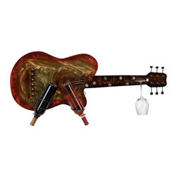 ecWorld - Kingston Wall Mounted Sunburst Metal Guitar 2-Bottle Wine Rack and Glass Holder - Fine wine shares something in common with great art and classic music. Dress up your home and your wine collection at the same time with this wall mounted Guitar Wine Rack and Wine Glass Holder. This exquisite piece is functional and allows you to display your favorite wine in style.
