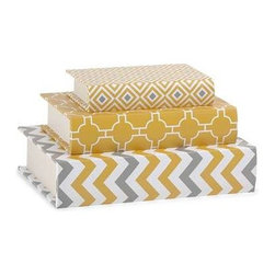 Essentials Book Boxes - Yellow - These book boxes, part of the Mellow Yellow collection from Essentials by Connie Post, are perfect for storing small items on a desk or shelf, and their bold patterns and color are a striking addition to your decor.