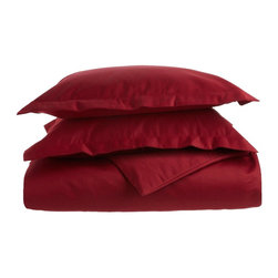 1500 Thread Count Cotton Full/Queen Burgundy Solid Duvet Set - 1500 Thread Count Full/Queen Burgundy Solid Duvet Set 100% Cotton