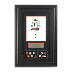 "Heritage Sports Art - Original art of the NHL 1967-68 Bobby Orr jersey - This beautifully framed piece features an original piece of watercolor artwork glass-framed in an attractive two inch wide black resin frame with a double mat. The outer dimensions of the framed piece are approximately 17� wide x 24.5� high, although the exact size will vary according to the size of the original piece of art. At the core of the framed piece is the actual piece of original artwork as painted by the artist on textured 100% rag, water-marked watercolor paper. In many cases the original artwork has handwritten notes in pencil from the artist. Simply put, this is beautiful, one-of-a-kind artwork. The outer mat is a rich textured black acid-free mat with a decorative inset white v-groove, while the inner mat is a complimentary colored acid-free mat reflecting one of the team�s primary colors. The image of this framed piece shows the mat color that we use (Orange). Beneath the artwork is a silver plate with black text describing the original artwork. The text for this piece will read: This original, one-of-a-kind watercolor painting of Bobby Orr's 1967-68 NHL All-Star team jersey is the original artwork that was used in the creation of this Bobby Orr jersey evolution print and tens of thousands of Bobby Orr products that have been sold across North America. This original piece of art was painted by artist Tino Paolini for Maple Leaf Productions Ltd. Beneath the silver plate is a 3� x 9� reproduction of a well known, best-selling print that celebrates Bobby Orr's hockey history. The print beautifully illustrates a chronological evolution of some of Bobby Orr's jerseys and shows you how the original art was used in the creation of this print. If you look closely, you will see that the print features the actual artwork being offered for sale. The piece is framed with an extremely high quality framing glass. We have used this glass style for many years with excellent results. We package every piece very carefully in a double layer of bubble wrap and a rigid double-wall cardboard package to avoid breakage at any point during the shipping process, but if damage does occur, we will gladly repair, replace or refund. Please note that all of our products come with a 90 day 100% satisfaction guarantee. Each framed piece also comes with a two page letter signed by Scott Sillcox describing the history behind the art. If there was an extra-special story about your piece of art, that story will be included in the letter. When you receive your framed piece, you should find the letter lightly attached to the front of the framed piece. If you have any questions, at any time, about the actual artwork or about any of the artist�s handwritten notes on the artwork, I would love to tell you about them. After placing your order, please click the ""Contact Seller"" button to message me and I will tell you everything I can about your original piece of art. The artists and I spent well over ten years of our lives creating these pieces of original artwork, and in many cases there are stories I can tell you about your actual piece of artwork that might add an extra element of interest in your one-of-a-kind purchase."