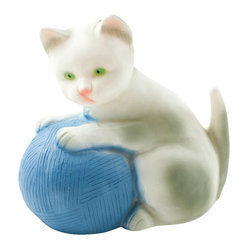 Cat Playing With A Blue Ball Lamp