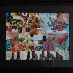 It's All Delicious (Original) by Kathleen Fallucca - This is a collage of food, beverage and dessert pictures cut out of magazines.  Ah the pleasures in life  eat, drink and have some chocolate!   Black Frame, Black Mat