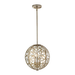 Murray Feiss - Murray Feiss Arabesque Modern / Contemporary Foyer Light X-PLS3/8352F - This beautiful Arabesque modern/contemporary foyer light is brought to you by Murray Feiss. The intricate gold detail formed as a ivory linen globe around the bulbs will surely draw attention to itself in any room.