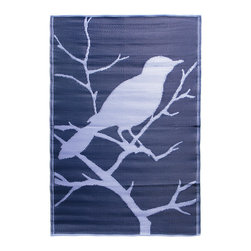 KOKO - Birds Floor Mat, Blue - You can use this sweet propylene floor mat inside or out. It rinses clean with a hose, and is reversible for longer life and added visual interest. A charming addition to the porch, patio or playroom.