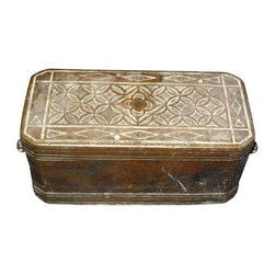 Pre-owned Antique Beetle Nut Box - This l9th (possibly 18th) Century brass and copper hand cast box from India was used to contain beetle nut and lime. Hand engraved. The left handle is missing. Great patina and feel due to age and use.