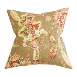 "The Pillow Collection - Eluned Floral Pillow Brown 18"" x 18"" - This plush home accessory makes your living space extra cheery and inviting. It's the best and easiest way to dress up your couch, seat and bed. Simply toss this floral throw pillow in your bedroom, living room or guest room. It features an earthy color palette in shades of brown, orange, purple, white, green and natural. Made from plush materials: 55% linen and 45% rayon fabric. Hidden zipper closure for easy cover removal.  Knife edge finish on all four sides.  Reversible pillow with the same fabric on the back side.  Spot cleaning suggested."