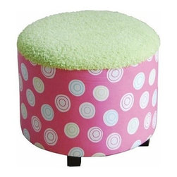 "ACMACM59042 - Llan Pink and Green Round Shaped Kids Size Ottoman - Llan Pink and Green Round Shaped Kids Size Ottoman. Measures 18""Dia. x 16""H. Some assembly may be required."