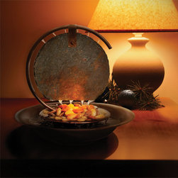Bluworld - Mini Moonshadow Tabletop Water Fountain - Tabletop fountains are a great way to bring the elegant look and relaxing sound of a water fountain into a relatively small space without overwhelming other design elements of the room. The Mini Moonshadow is a perfect example of this concept, measuring a mere 13 inches high and 12.5 inches in diameter. However, this water feature is still striking enough to attract the attention of anyone who enters its presence. Our indoor water fountains feature a quiet submersible drive pump, which pushes water up through a tube in the dark copper colored frame. The water then trickles down a striking circular slab of slate, creating a soothing sound as the water falls onto the polished river stones below. The pump is adjustable, so you can tailor the rate of the falling water to fit your mood. An accent light assures that this decorative piece will always be the center of attention.*Please note that these units are handmade and measurements may vary slightly.