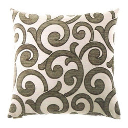 """Canaan - 24"""" x 24"""" Kay Taupe Fleur De Lis Pattern Throw Pillow - Kay taupe fleur de lis pattern throw pillow with a feather/down insert and zippered removable cover. These pillows feature a zippered removable 24"""" x 24"""" cover with a feather/down insert. Measures 24"""" x 24"""". These are custom made in the U.S.A and take 4-6 weeks lead time for production."""