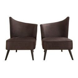 Armen Living Elegant Accent Chair with Flaired Back - Black Microfiber - For decor that truly flows, furnish your lounge area with the Armen Living Elegant Accent Chair with Flaired Back – Black Microfiber. This chair's sloping back is a unique, modern design that looks great when paired with an opposing model side-by-side for a beautifully symmetrical presentation. Both left and right flaired back designs are available, each of which is made from a kiln-dried wood frame and sleek black microfiber upholstery that's soft to the touch and easy to clean. Measures: 28W x 25D x 39H inches and features 1.8 density fire retardant foam cushioning for your comfort. Some assembly is required.About Armen LivingImagine furniture without limits - youthful, robust, refined, exuding self-expression at every angle. These are the tenets Armen Living's designers abide by when creating their modern furniture collections. Building on more than 30 years of industry experience, Armen Living combines functional versatility and expert craftsmanship into their dramatic furniture styles, all offered at price points fit for discriminating budgets. Product categories include bar stools, club chairs, dining tables, ottomans, sofas, and more. Armen Living is based in Sun Valley, Calif.