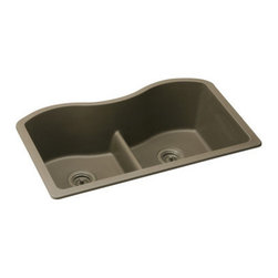 "Elkay - Elkay ELGULB3322MC0 Mocha E-Granite Harmony e-Granite 33""(L) x - Elkay Harmony e-Granite 33"" Undermount Double Basin Kitchen Sink with 9-1/2"" Bowl Depth Molded from Elkay E-Granite which is up to 85% natural quartz and high performance acrylic resins. E-Granite is non-porous and resists staining. E-Granite is hard enough to resist scratches and chips. The color is solid throughout the sink and is UV resistant to prevent color-fading in indoor applications. Universal mount sinks can be installed as a Top mount or undermount. Both types of clips are provided. Product Features:  Undermount Double basin sink e-Granit Naturally sound deadened Heat resistant  Product Specifications:  Installation Type: Undermount Material: e-Granite Number of Basins: 2 Minimum Cabinet Size: 36"" Sink Dimensions: 33"" L x 20-1/8"" W Bowl Depth: 9-1/2"" Left Bowl Dimensions: 15-3/16"" L x 17-7/8"" W x 9-1/2"" D Right Bowl Dimensions: 15-3/16"" L x 17-7/8"" W x 9-1/2"" D Faucet Holes: 0 Drain Size: 3-1/2"" Ship Wt: 51 lbs  Product Certifications and Compliances:  ANSI/NSF61 - Certified ASME 112.18.1/CSA B125-01 IAPMO Listed"