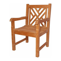 Anderson Teak - Vilano Dining Armchair - This crisscross back style-dining armchair will never go out of style, but quietly blends with any other design. The seat is very sturdy as well as the back. Place this chair in your backyard with the dining table, will amazed your family or friends. Cushion is optional and is being made by order.