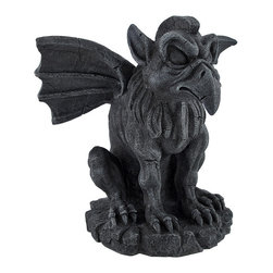 Hippogriff Gragoyle Stone Finish Statue - This hippogriff gargoyle looks and feels like real stone! The grey/white matte finish, porous texture, and intentional cracking design imitate stone with amazing proximity to masonry. Instead of the tedious task of exposing a real hippogriff to the sun, the statue has been formed by cold cast resin. The figure stands 9 inches tall, 10 inches wide and 8 1/2 inches deep. This grotesque figure would make a wonderful home or garden accent and an invaluable protector against evil.