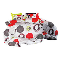 Blooming Home Decor - Modern Red & Lime Green Circle Pattern Duvet Cover Set, King - You won't have to sacrifice color for quality with this 100% cotton, 820 thread count duvet cover set. Combining eye-popping circles of red, black, white and apple green, this set will liven up a room and bring some major fun to bedtime. This duvet contains the same pattern on both sides, so whether your bed is turned down or made up, you will be able to enjoy the artistic liveliness of a bed decked out in artistic red.