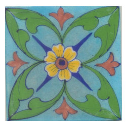 "Knobco - Tiles 4X4""Inch, Yellow And Brown Flower And Green Leaf With Turquoise Base - Yellow and Brown Flower and Green leaf with Turquoise Base Tiles from Jaipur, India. Unique, hand painted tiles for your kitchen or other tiling project. Tile is 4x4"" in size."