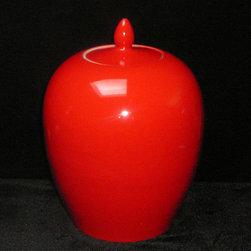 Simple Plain Solid Red Glaze Porcelain Vase Jar - This is a clean simple porcelain jar glazed with plain solid red color.