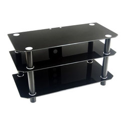 """Home Loft Concept - Contempo 42"""" TV Stand - This TV stand offers a contemporary design, which will add a touch of style to any modern room. The Contempo 42'' TV Stand in Black is constructed of durable, powder-coated metal tubing and thick tempered safety glass. Three levels of shelving combine to accommodate televisions up to 50'' and provide ample space for AV components. Cable management in the back allows cords to be organized and out of sight. All levels of glass are securely fastened offering rugged construction while maintaining a sleek look. Features: -Black legs with black glass shelves.-Ample storage space for AV components.-Cable management organizes all wires and cords.-Top shelf is 8 mm thick with a weight capacity of 250 lbs.-Lower shelves are 6 mm thick.-Constructed of tempered safety glass and powder-coated steel.-Recommended TV Type: Flat screen.-TV Size Accommodated: 50"""".-Finish: Black.-Powder Coated Finish: Yes.-Gloss Finish: No.-Material: Tempered safety glass / Steel.-Distressed: No.-Exterior Shelves: Yes -Adjustable Exterior Shelves: No..-Scratch Resistant (Scratch Resistant) : No.-Ventilation Features: Yes.-Casters: No.-Accommodates Fireplace: No.-Fireplace Included: No.-Media Player Storage: Yes.-Media Storage: Yes.-Cable Management: Yes.-Weight Capacity: 250 lbs.-Swatch Available: No.-Commercial Use: No.-Lift Mechanism: No.-Expandable: No.-TV Swivel Base: No.-Hardware Material: Metal.-Product Care: Wipe with dry or wet cloth.Specifications: -ISTA 3A Certified: Yes.Dimensions: -Overall Height - Top to Bottom: 22"""".-Overall Width - Side to Side: 42"""".-Overall Depth - Front to Back: 20"""".-Drawer: No.-Shelving: Yes.-Cabinet: No.-Overall Product Weight: 75 lbs.Assembly: -Assembly Required: Yes.-Tools Needed: Tools provided.-Additional Parts Required: No.Warranty: -Product Warranty: 30 Day defect."""