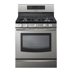 """Samsung - FX710BGS 30"""" Freestanding Gas Range With 5 Burners  5.8 Cu. Ft.  Self-Cleaning - The Samsung Appliance FX710BGS 30 in 58 Cu Ft oven easily handles turkey roasters and large baking sheets It features 5-burner flexibility with a duel 18000 power burners and large oval center so you can cook an entire dinner for your family at once ..."""