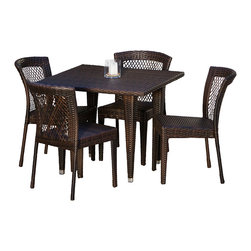 Great Deal Furniture - Dana Point 5-Piece Outdoor Dining Set - Whether on a cool fall day or a warm summer morning, food just tastes better when eaten outdoors, especially when it's on our Dana Point 5-piece Outdoor Dining Set. The rich, natural color of the wicker will fit with any nearby landscape if used outdoors, or decor if used by a pool or inside a screened porch. Unlike some wicker chairs, these are strong, sturdy, and comfortable. This set arrives fully assembled and ready to use.