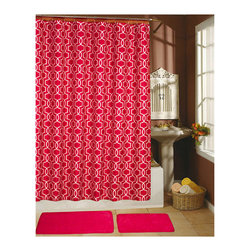 None - Paragon Fuchsia Decor Collection Shower Curtain,Hooks and Bath Rug 15-piece Set - Add a pop of bright color and style to your bathroom decor with this Paragon shower curtain set,featuring a fun geometric pattern. Crafted in fuchsia and white,this eye-catching curtain is accented by two memory foam rugs and convenient hooks.