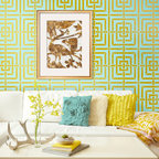 Mykonos Trellis Stencil - Imagine yourself on a Greek Island as you stencil our Mykonos Trellis Allover Stencil from Royal Design Studio Stencils in your favorite space of relaxation. A geometric pattern consisting of simple vertical and horizontal lines, this Allover Wall Stencil can be painted in tone on tone colors for a subtle effect, or in a Metallic Finish using our Royal Stencil Crème Paints as in our room inspiration above.