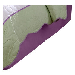 Pem America - Dragonfly Butterfly Twin Dustruffle - Butterflies and dragonflies dance across the face of this quilt with a light green frame drop.  The face material is a stark white with applique butterflies in purple, yellow and hot pink.  The frame is a lime green print with a scalloped edge. Twin bed skirt fits a mattresses 39x75 inches in dimension with a 14 inch drop in solid lavender. 100% microfiber polyester drop. Machine washable.