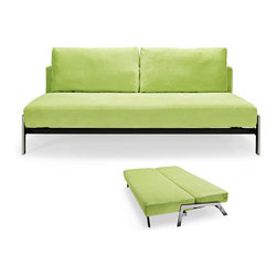 Creative Furniture - Spider Green Fabric Sofa Bed - Designed to fit into even very small spaces, this modern and functional Spider Green Fabric Sofa Bed comes with hidden mechanism that allows to convert the sofa to a bed easily. In bed position. the sofa accomodates 1 or 2 persons. The frame is made of steel and ensures durability for years to come.
