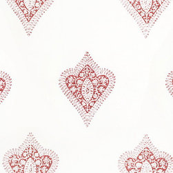 La Reine Fabric, Madder Red - Les Indiennes is one of my ultimate favorite fabric sources for delicate boho-chic paisleys in soft colors. Use their fabric for drapes, pillows or even lampshades.