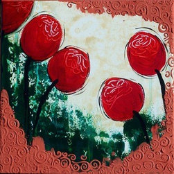 Red Is Fun (Original) by Shiloh Werkmeister - This piece is all about having fun with red and texture, feeling happy and whimsical.