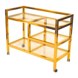 Mid-Century Brass Bar Cart - A sexy, shiny Mid-Century Brass Bar cart in pristine condition. Four glass shelves, four casters - now all it needs is four bottles of vino!