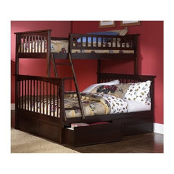 Atlantic Furniture - Columbia Twin Over Full Bunk Bed w Flat Panel - NOTE: ivgStores DOES NOT offer assembly on loft beds or bunk beds. Designed for durability. Two 14 piece slat kits. Mortise and tenon construction. Twenty six steel reinforcement points. Guard rails match panel design. Compliance with ASTM F-1427 Standard Consumer Safety Specification for Bunk Beds and the Government Code of Federal Regulations 1213 and 1513. Warranty: One year. Made from eco-friendly solid hardwood. Clearance from floor without trundle or storage drawers: 11.25 in.. 80.5 in. L x 44.25 in. W x 68.13 in. H. Assembly Instruction-1. Assembly Instruction-2. Flat Panel Drawers Assembly Instructions. Bunk Bed Warning. Please read before purchase.