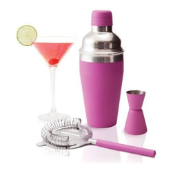True Frabrication - Cosmo Pink Cocktail Shaker 3-Piece Set by True Fabrication - Our Cosmo Pink Cocktail Shaker is just what you need to invent your next batch of fun and flirty cocktails. The 3-piece set includes a rubberized insulated stainless steel shaker, jigger and strainer.