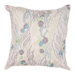 """Jaipur Rugs - Handmade Chambrey Ivory/White/Blue (18""""x18"""") Pillow - Soft shades of neutral and dusty pastel are the cornerstone of this whimsical feminine range of pillows made from poly dupione . The collection features imagery of butterflies, florals,  and birds."""