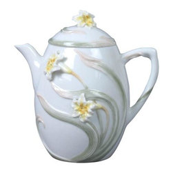 US - 5.25 Inch Porcelain Teapot with Leaves Stems Lilies and Lily Lid - This gorgeous 5.25 inch porcelain teapot with leaves stems lilies and lily lid has the finest details and highest quality you will find anywhere! 5.25 inch porcelain teapot with leaves stems lilies and lily lid is truly remarkable.